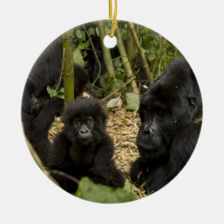 Mountain Gorilla, adult with young 2 Round Ceramic Decoration