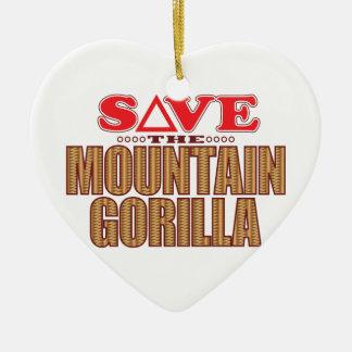Mountain Gorilla Save Ceramic Heart Decoration