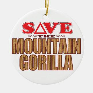 Mountain Gorilla Save Round Ceramic Decoration