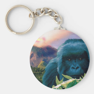 Mountain Gorilla & Volcano Wildlife Keychain
