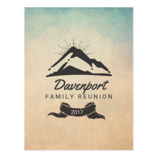 Mountain Illustration with Sun Rays Family Reunion Postcard