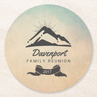 Mountain Illustration with Sun Rays Family Reunion Round Paper Coaster