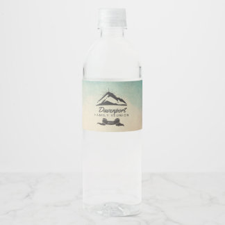Mountain Illustration with Sun Rays Family Reunion Water Bottle Label