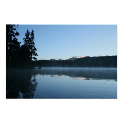 Mountain Lake, Dawn, Mist Poster