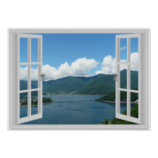 Mountain Lake Faux Window Scene Poster