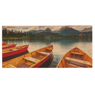 Mountain lake in National Park High Tatra Wood USB 2.0 Flash Drive