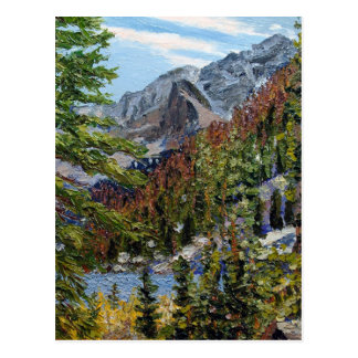 Mountain Lake Oil Landscape Painting Post Card