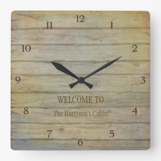 Mountain Lake Pines Welcome Cabin Personalized Square Wall Clock