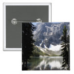 Mountain Lake Reflecting Mountain Framed By Trees Pinback Button