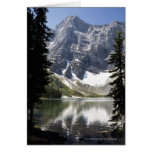 Mountain Lake Reflecting Mountain Framed By Trees Greeting Card