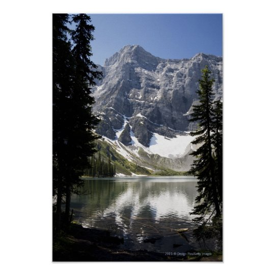 Mountain Lake Reflecting Mountain Framed By Trees Poster