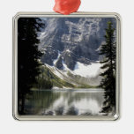 Mountain Lake Reflecting Mountain Framed By Trees Silver-Colored Square Decoration