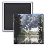 Mountain Lake Reflecting Mountain Framed By Trees Square Magnet