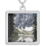 Mountain Lake Reflecting Mountain Framed By Trees Square Pendant Necklace