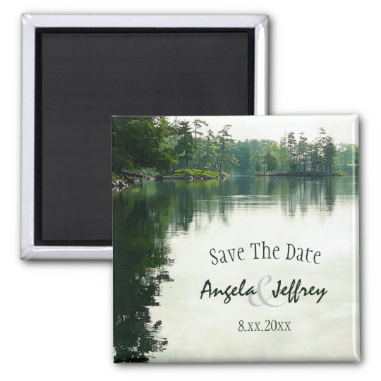 Mountain Lake reflection rustic save the date Magnet