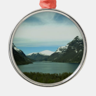 Mountain Lake Silver-Colored Round Decoration