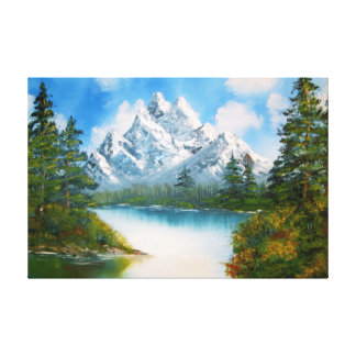 Mountain landscape in springtime oil painting gallery wrapped canvas