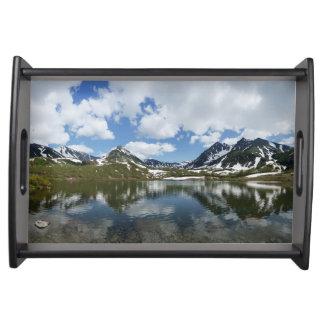 Mountain landscape: lake, cloud, blue sky serving tray
