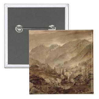 Mountain Landscape, Macugnaga, 1845 (pen & brown i 15 Cm Square Badge