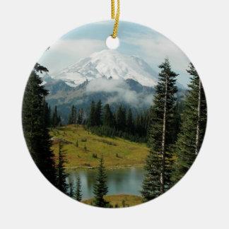 Mountain Landscape Photo Round Ceramic Decoration