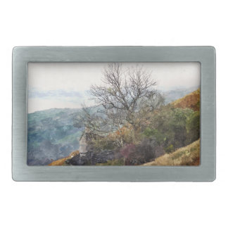 MOUNTAIN LANDSCAPE RECTANGULAR BELT BUCKLE