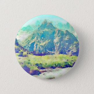Mountain Landscape Watercolor 6 Cm Round Badge