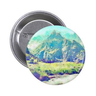 Mountain Landscape Watercolor 6 Cm Round Badge