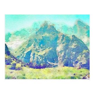 Mountain Landscape Watercolor Postcard