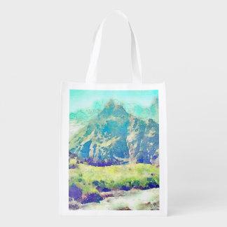Mountain Landscape Watercolor Reusable Grocery Bag