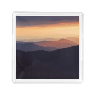 Mountain landscape with a fantastic sunset acrylic tray