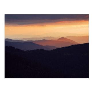 Mountain landscape with a fantastic sunset postcard