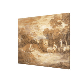 Mountain Landscape with Figures, Sheep and Fountai Canvas Print