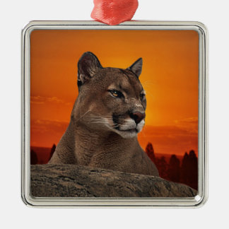 Mountain lion at sunset christmas ornament