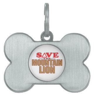 Mountain Lion Save Pet Name Tag