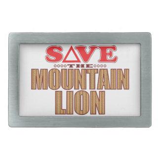 Mountain Lion Save Rectangular Belt Buckles