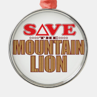 Mountain Lion Save Silver-Colored Round Decoration