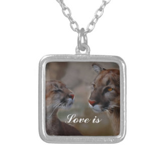 Mountain lions in love silver plated necklace