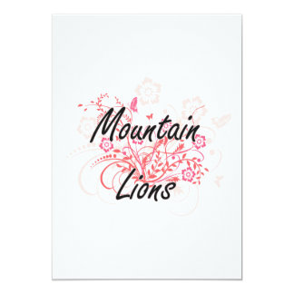 Mountain Lions with flowers background 13 Cm X 18 Cm Invitation Card