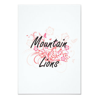 Mountain Lions with flowers background 9 Cm X 13 Cm Invitation Card
