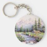 MOUNTAIN LOG CABIN by SHARON SHARPE Basic Round Button Key Ring