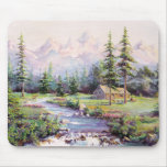 MOUNTAIN LOG CABIN by SHARON SHARPE Mouse Mat