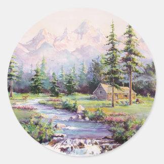 MOUNTAIN LOG CABIN by SHARON SHARPE Round Sticker