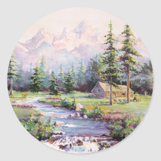 MOUNTAIN LOG CABIN by SHARON SHARPE Stickers