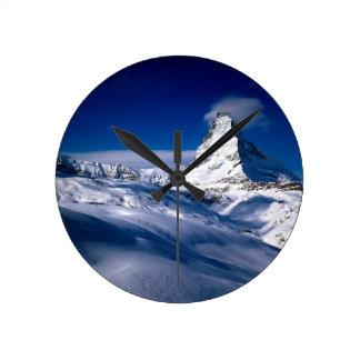 Mountain Matterhorn Valais Switzerland Round Clock