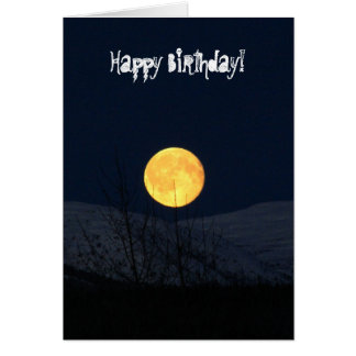 Mountain Moon; Happy Birthday Greeting Card