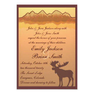 Mountain moose lake reflection wedding invites