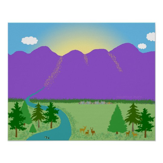 Mountain Morn original digital drawing Poster