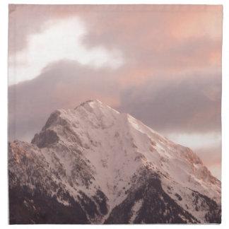Mountain peak at sunrise printed napkins
