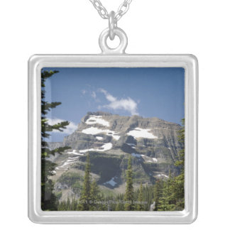 Mountain Peak Between Trees Under A Blue Sky Silver Plated Necklace