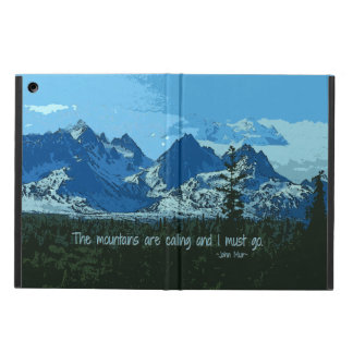 Mountain Peaks digital art - John Muir quote Case For iPad Air